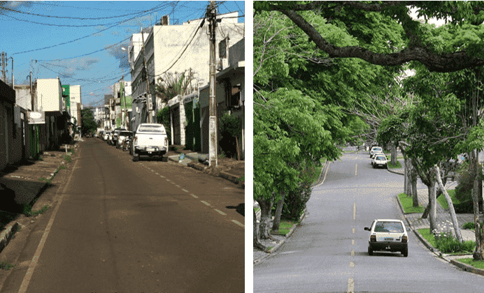 Figura 1: Rua não Arborizada Vs Rua Pós Arborizada