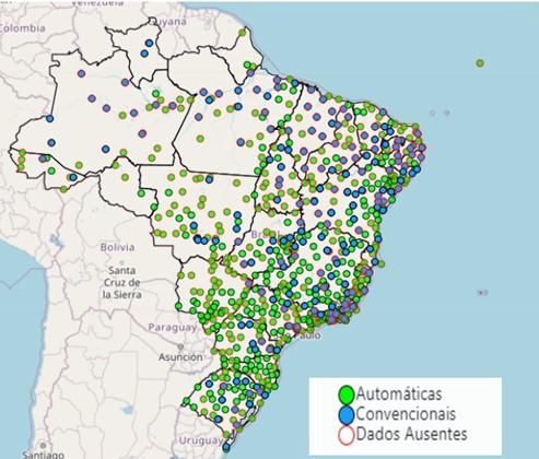 Distribuição das estações meteorológicas no Brasil