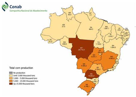 Mapa da distribuição da produção total de milho no Brasil safra 2018/19 (Fonte: Conab).